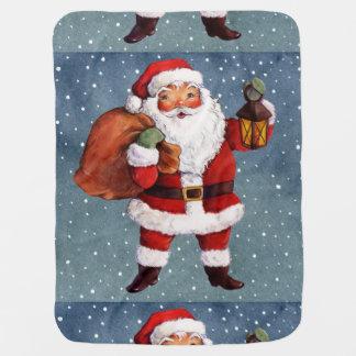 Snowy Night Watercolor Santa Baby Blanket