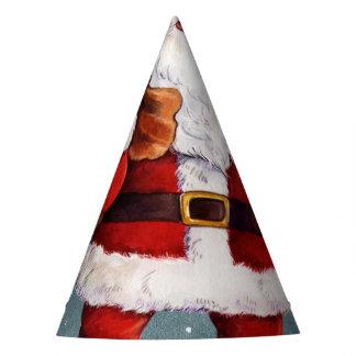 Snowy Night Watercolor Santa Party Hat
