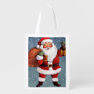 Snowy Night Watercolor Santa Reusable Grocery Bag