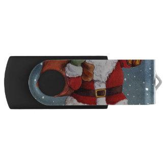 Snowy Night Watercolor Santa USB Flash Drive