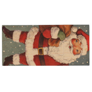 Snowy Night Watercolor Santa Wood USB Flash Drive