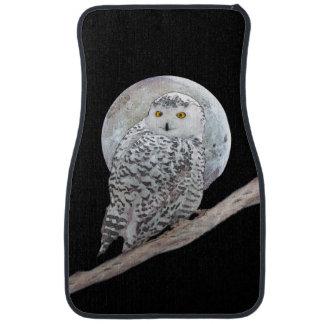 Snowy Owl and Moon Painting - Original Bird Art Car Mat