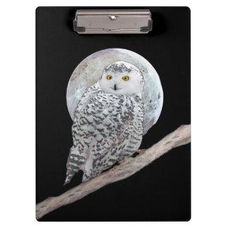 Snowy Owl and Moon Painting - Original Bird Art Clipboard