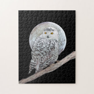 Snowy Owl and Moon Painting - Original Bird Art Jigsaw Puzzle