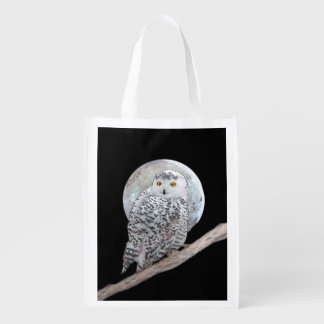 Snowy Owl and Moon Painting - Original Bird Art Reusable Grocery Bag