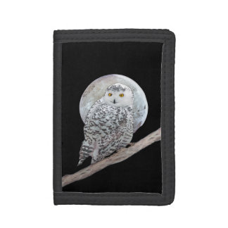 Snowy Owl and Moon Painting - Original Bird Art Tri-fold Wallet