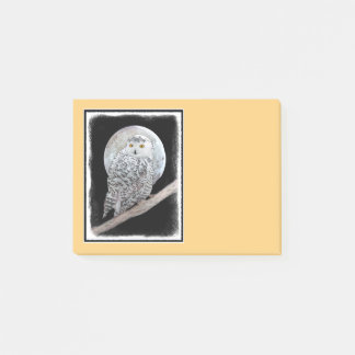 Snowy Owl and Moon Post-it Notes