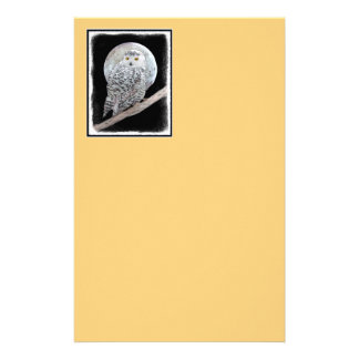 Snowy Owl and Moon Stationery