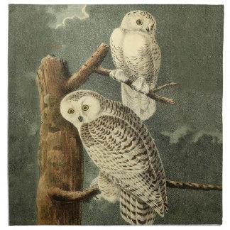 Snowy Owl Audubon Bird Art Illustration Artwork Napkin