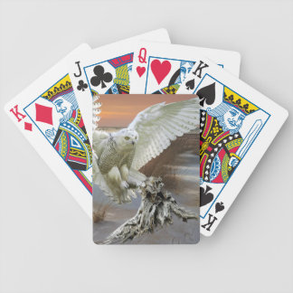 Snowy Owl Bicycle Playing Cards