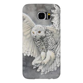 Snowy Owl Descent Wildlife Watercolor Art Samsung Galaxy S6 Cases