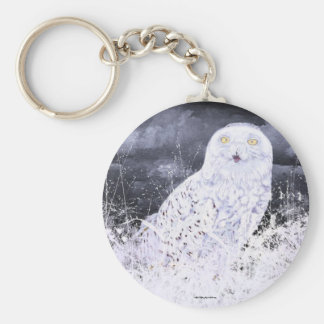 Snowy Owl : Hand Painted By c09MarySylviaHines Key Ring