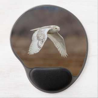 Snowy owl in flight gel mouse pad