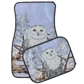 Snowy Owl in Snow Car Mat