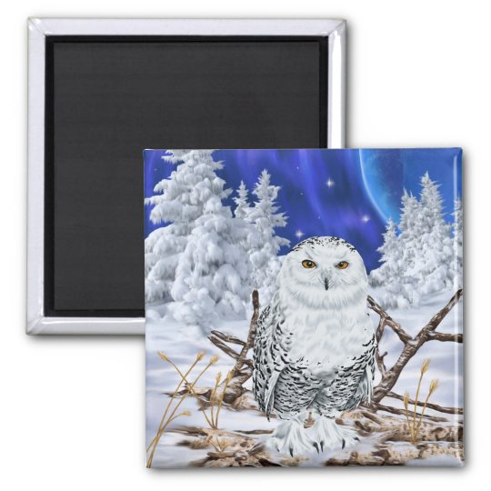 Snowy Owl in Snow Magnet