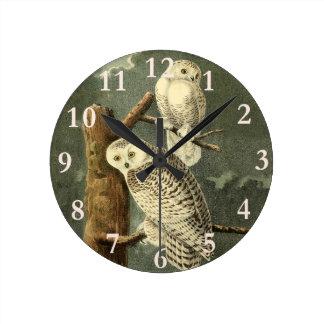 Snowy Owl John James Audubon Vintage Illustration Round Clock