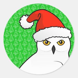 Snowy Owl Santa Classic Round Sticker