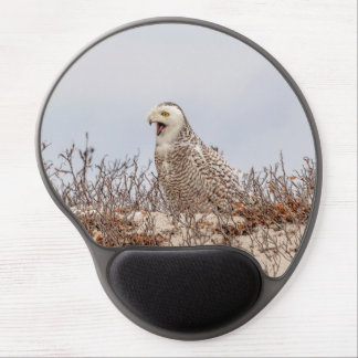 Snowy owl sitting on the beach gel mouse pad