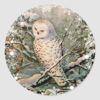 SNOWY OWL & SNOWFLAKES by SHARON SHARPE Classic Round Sticker