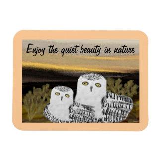 Snowy Owl Sunrise Magnet