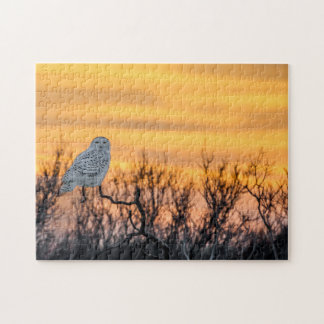 Snowy Owl Sunset Puzzle