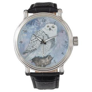 Snowy Owl Wildlife Art in Watercolor Wrist Watch