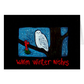 Snowy Owl Winter Wishes Card