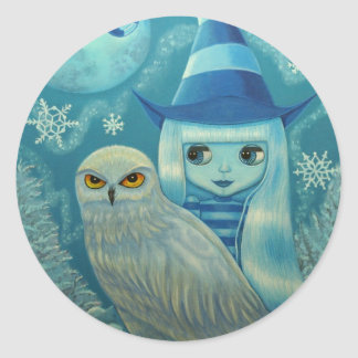 Snowy Owl Witch Sticker