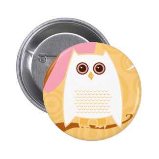 Snowy Owl Yellow Button
