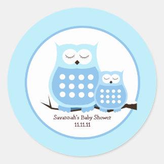 Snowy Owls (Blue) Favor Stickers 3-inch