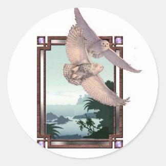 Snowy Owls Round Sticker