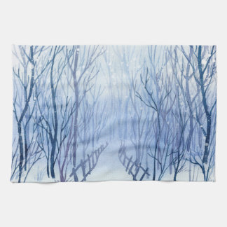 Snowy path in the woods kitchen towel