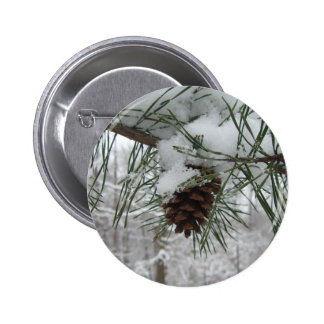 Snowy Pine Branch Button