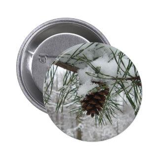 Snowy Pine Branch Button