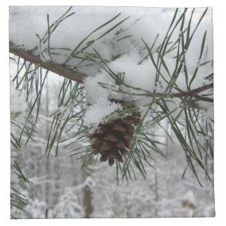 Snowy Pine Branch Napkin