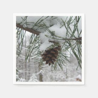 Snowy Pine Branch Winter Nature Photography Disposable Napkin
