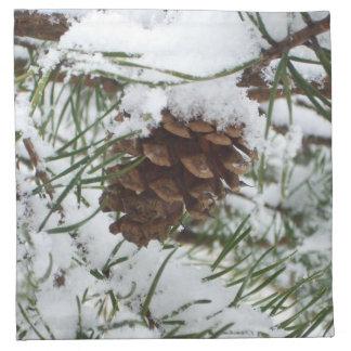 Snowy Pine Cone I Napkin