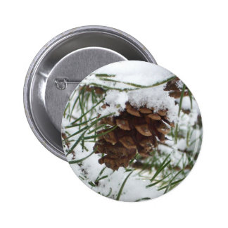 Snowy Pine Cone I Winter Nature Photography 6 Cm Round Badge
