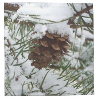 Snowy Pine Cone I Winter Nature Photography Napkin