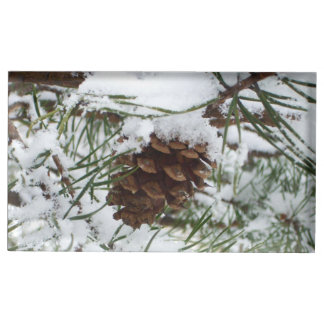 Snowy Pine Cone I Winter Nature Photography Table Card Holder