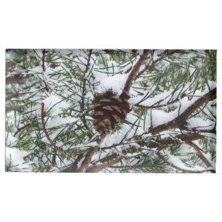 Snowy Pine Cone II Table Card Holder