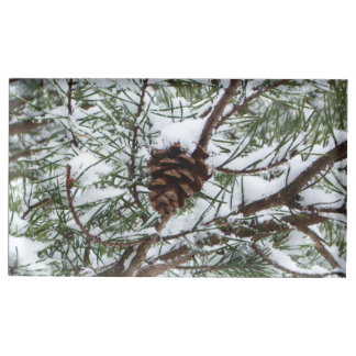Snowy Pine Cone II Winter Nature Photography Table Card Holder