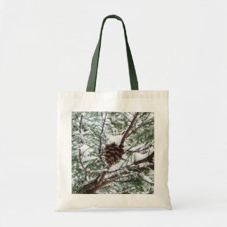 Snowy Pine Cone II Winter Nature Photography Tote Bag