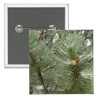 Snowy Pine Cones Button