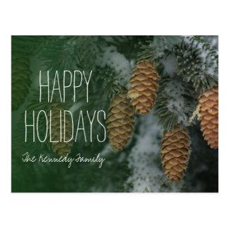 Snowy pine cones postcard
