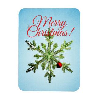 Snowy Pine Snowflake Christmas Custom Text Magnet