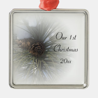 Snowy Pines 1st Christmas Together Metal Ornament