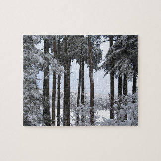 Snowy Pines in Blue Light Puzzle