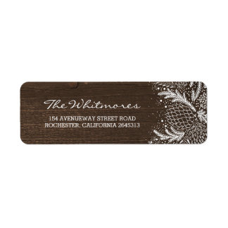 Snowy Pines Rustic Wood Holiday Return Address Label