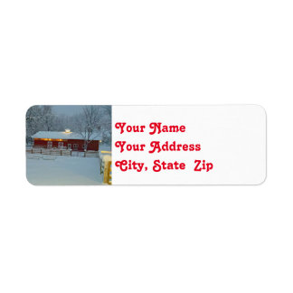 Snowy Red Barn Farm Christmas Return Address Label